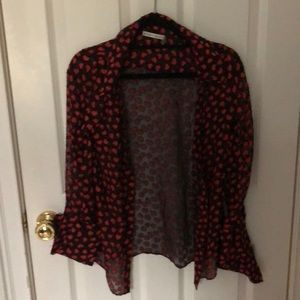 alice + olivia heart sheer blouse